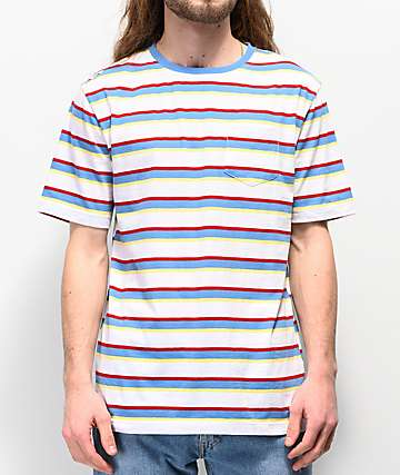 Zine Quarter White & Blue Striped Pocket T-Shirt