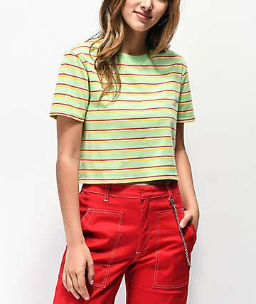 Zine Quinn Mint Stripe Crop T-Shirt
