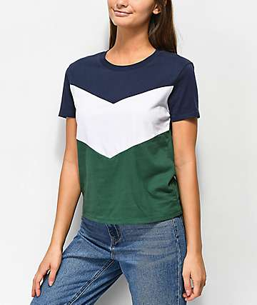 Zine Rayney Green, Blue & White Colorblock T-Shirt