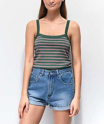 Zine Rocky camiseta sin mangas verde y roja de rayas