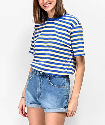 Zine Sandler Blue & Yellow Stripe Oversized T-Shirt