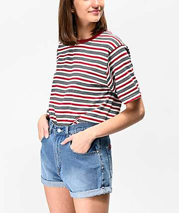 Zine Sandler Red & Black Stripe Oversized T-Shirt