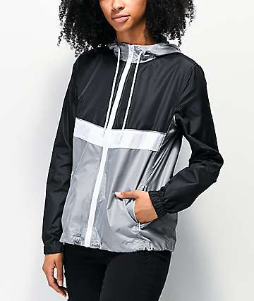 Zine Shalia Black, White & Grey Windbreaker Jacket