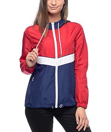 Zine Shalia Red, White & Navy Windbreaker Jacket