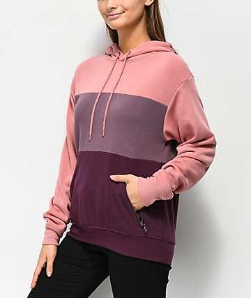 Zine Shanae Pink & Burgundy Colorblock Hoodie