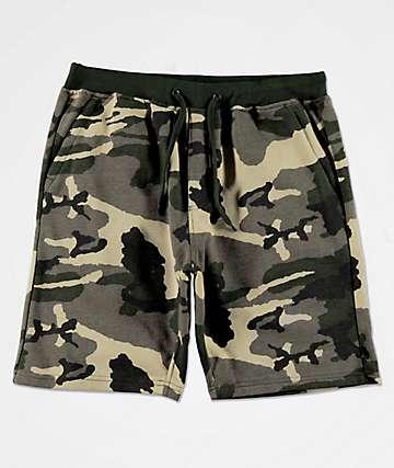 Zine Silas shorts de punto de camuflaje verde
