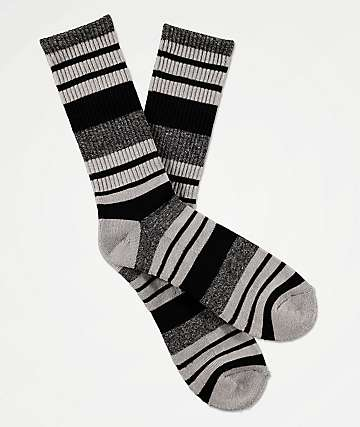 Zine Street Black & Marbled Grey Crew Socks