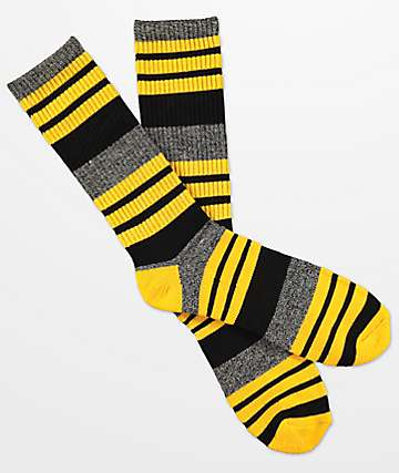 Zine Street Gold Fusion Black Crew Socks