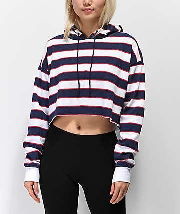 Zine Tariana Red, White & Blue Stripe Crop Hoodie
