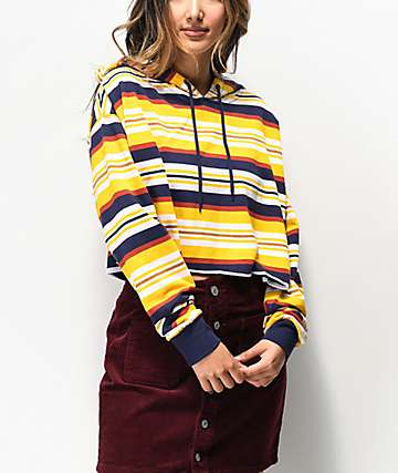 Zine Tariana Yellow Stripe Crop Hoodie