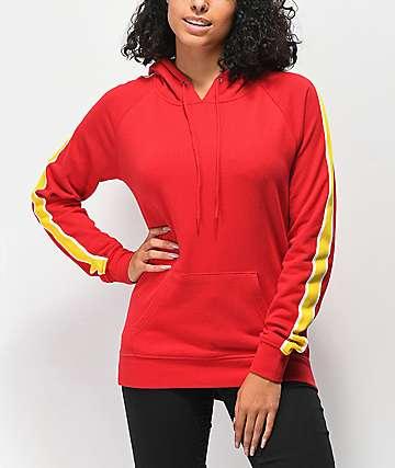 Zine Tera sudadera con capucha roja con rayas