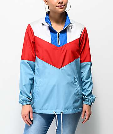 Zine Thea Red, White & Blue Anorak Windbreaker Jacket