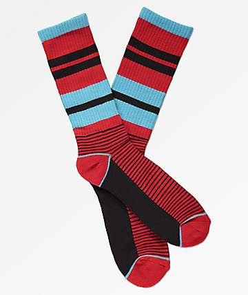Zine You Betcha Blue, Black & Blue Crew Socks