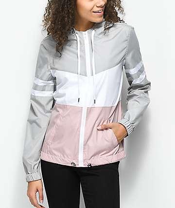 Zine Zuri chaqueta cortavientos malva, gris y blanca
