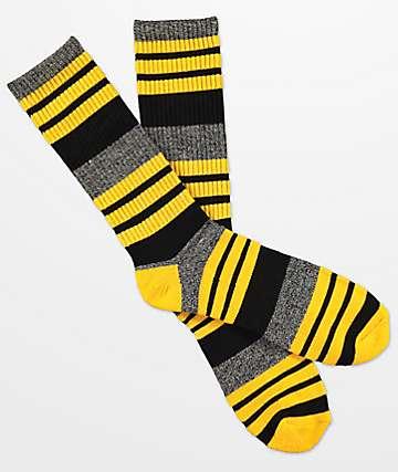 Zine calcetines amarillos, negros y grises de rayas