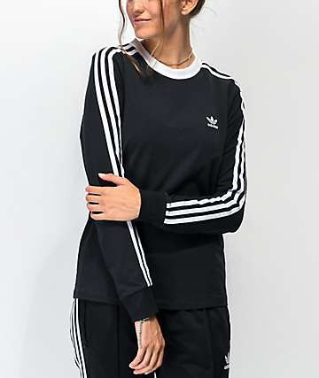 adidas 3-Stripe Black Long Sleeve T-Shirt