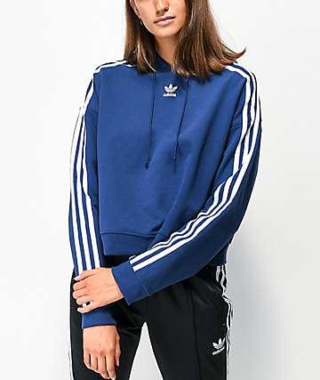adidas 3 Stripe Dark Blue Crop Hoodie