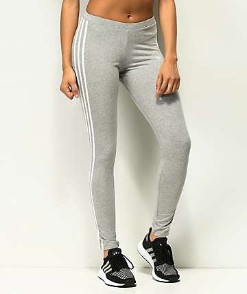 adidas 3 Stripe Grey Leggings