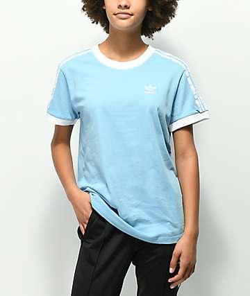 adidas 3 Stripe Light Blue T-Shirt