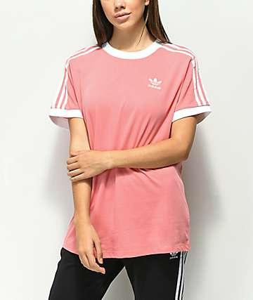 adidas 3 Stripe Light Pink T-Shirt