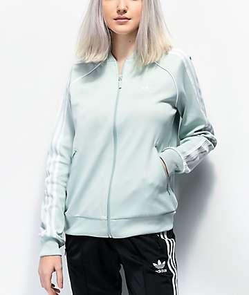 adidas 3-Stripe Mint Green Track Jacket