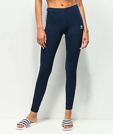 adidas 3 Stripe Navy Leggings