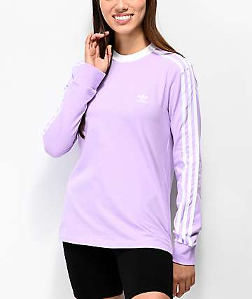 adidas 3 Stripe Purple Glow Long Sleeve T-Shirt