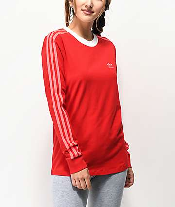 adidas 3 Stripe Scarlet Long Sleeve T-Shirt