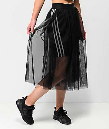 adidas 3 Stripe Tulle Black Skirt