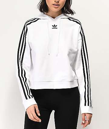 Retro Gold Cropped Adidas Pullover Hoodie at
