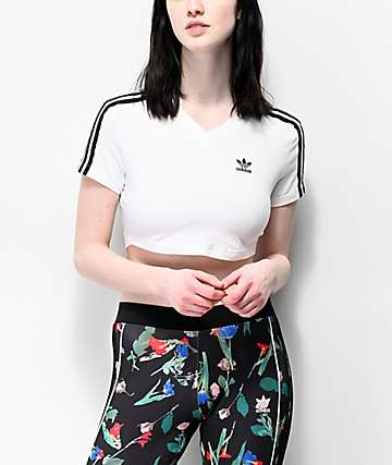 adidas 3 Stripe White Crop T-Shirt