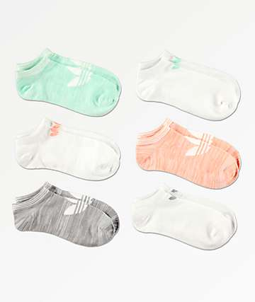 adidas 6 Pack Space Dye Super No Show Socks