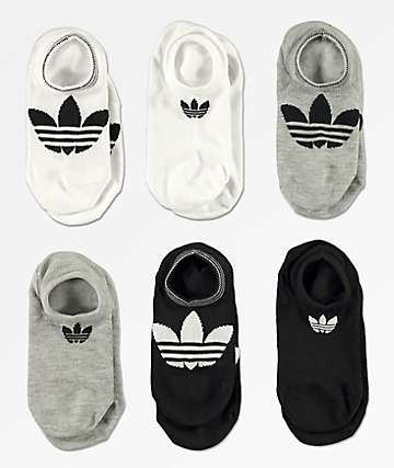 adidas 6 Pack Superlite Black & White No Show Socks