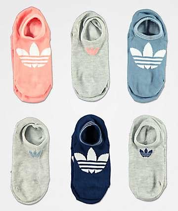 adidas 6 Pack Superlite Rose No Show Socks