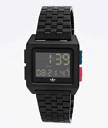 adidas Archive M1 Black, Blue & Red Digital Watch