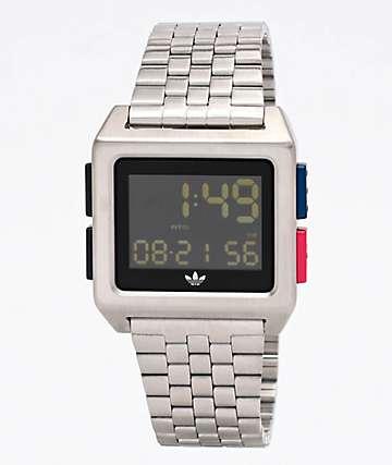 adidas Archive M1 Silver, Blue & Red Digital Watch