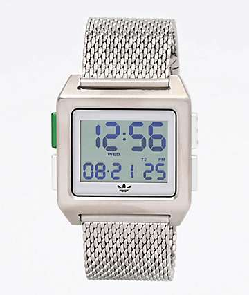 adidas Archive M1 Silver Milanese Digital Watch