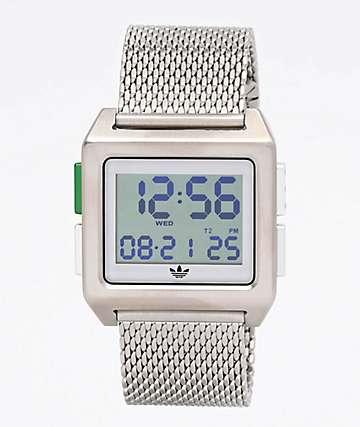 adidas Archive M1 Silver Milanese Digital Watch