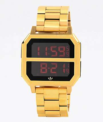 adidas Archive MR2 Gold & Red Digital Watch