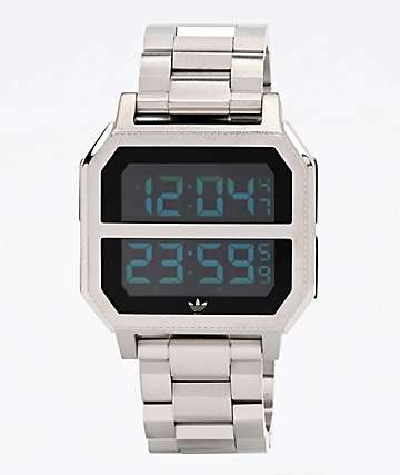 adidas Archive MR2 Silver Digital Watch
