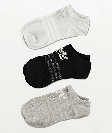 adidas Black, White & Grey 3 Pack No Show Socks