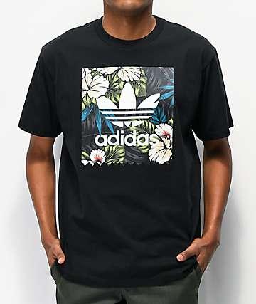adidas Blackbird Floral Fill Black T-Shirt