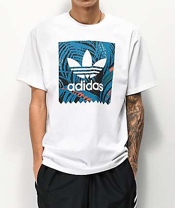 adidas Blackbird Print White & Teal T-Shirt
