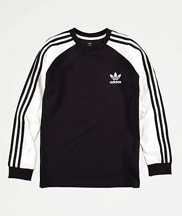 adidas Boys 3-Stripe Black & White Long Sleeve T-Shirt