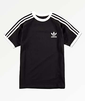 adidas Boys 3 Stripe Black T-Shirt
