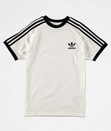 adidas Boys 3-Stripe White T-Shirt