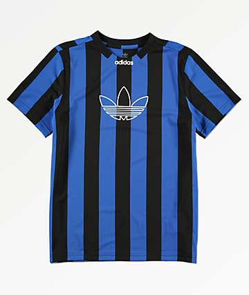 adidas Boys Black & Blue Stripes Jersey