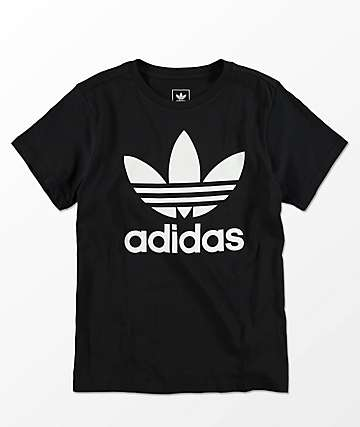 adidas Boys Trefoil Black & White T-Shirt