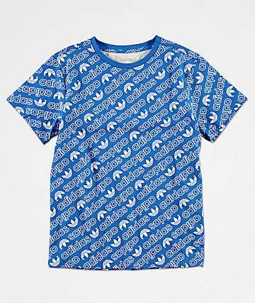 adidas Boys Trefoil Print Blue T-Shirt