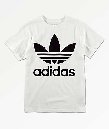 adidas Boys Trefoil White & Black T-Shirt